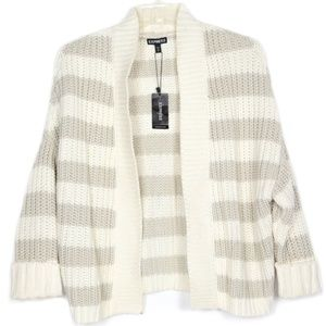NEW Express Chunky Knit Sweater Cardigan Stripe S
